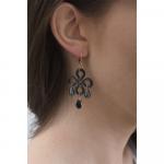 Boucles d'oreilles trèfle de nacre noire et pampilles