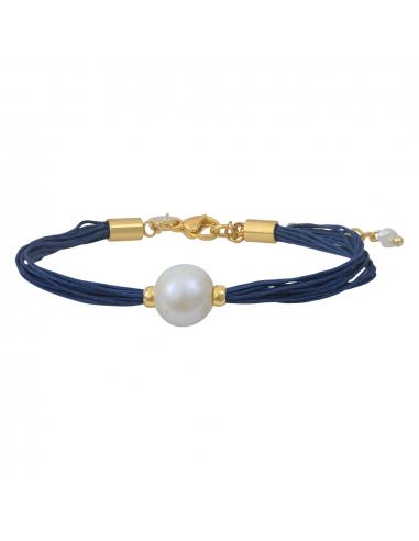 Bracelet une perle de culture blanche sur multi-cordon bleu