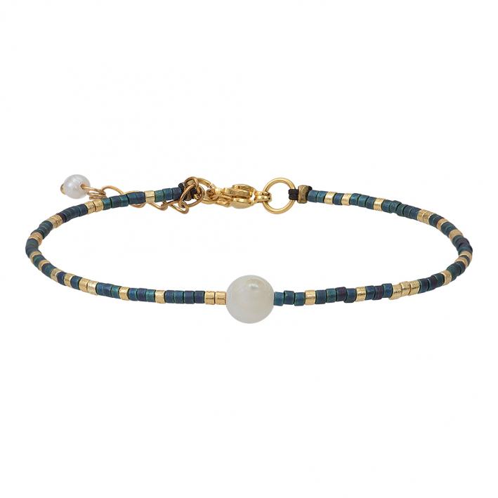 Bracelet perles de rocailles bleues dorées et perle blanche