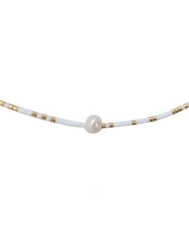 Collier perles de rocailles blanches et dorées et perle blanche