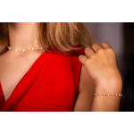 Bracelet petites perles de culture blanches et perles dorées