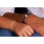 Bracelet perles de rocailles blanches et dorées et perle blanche