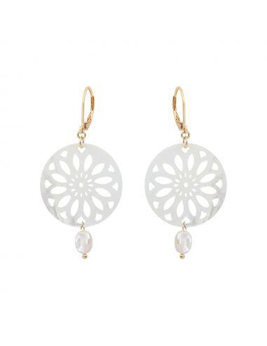 Boucles d'oreilles médaille en filigrane de nacre et perle