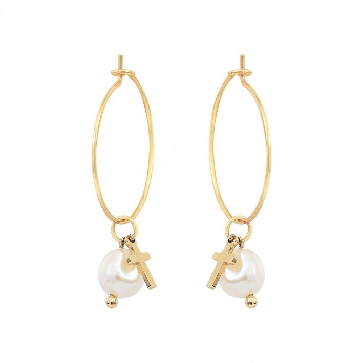 Boucles d'oreilles créoles pampilles croix et perles