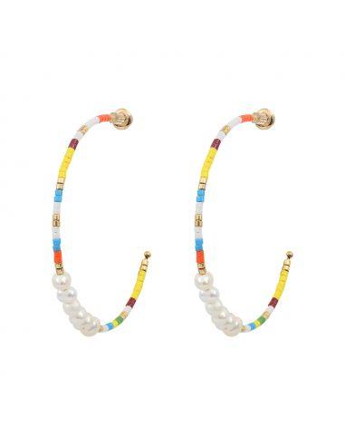 Créoles perles de rocaille multicolores et petites perles