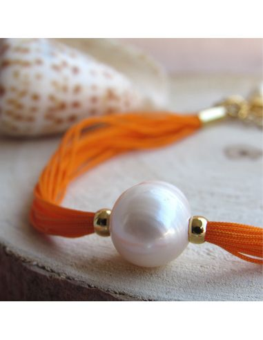 Bracelet une perle de culture blanche sur multi-cordon orange