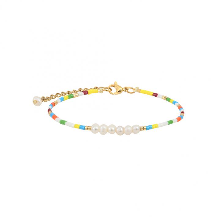Bracelet perles de rocaille multico jaunes et petites perles