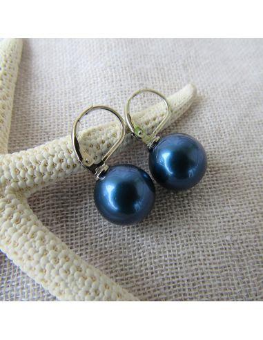 Boucles d'oreilles dormeuses perles de nacre bleues nuit