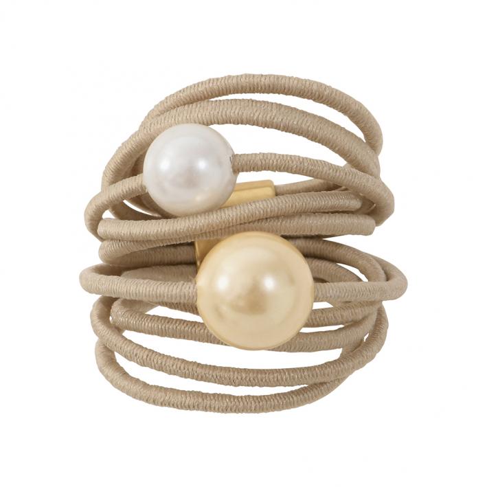Bague multi rangs élastique beige et duo de perles de nacre