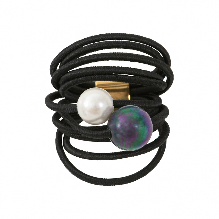 Bague multi rangs élastique noir et duo de perles de nacre