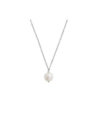 Collier une perle de nacre blanche sur chaîne argentée