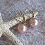 Boucles d'oreilles dormeuses perles de nacre rose poudré
