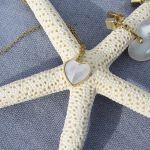 Collier coeur nacre sertie sur chaîne dorée