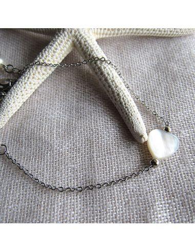 Bracelet raffiné coeur en nacre sur argenté