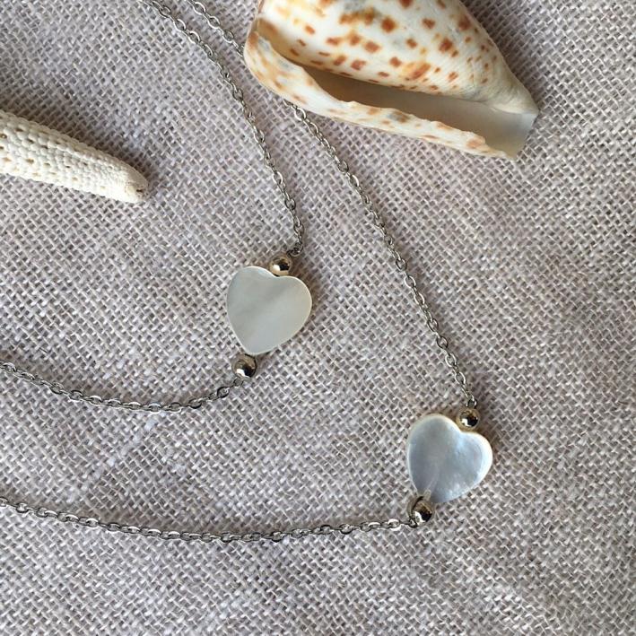 Collier pendentif coeur nacre sur chaîne argentée