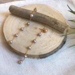 Boucles perles roses longues