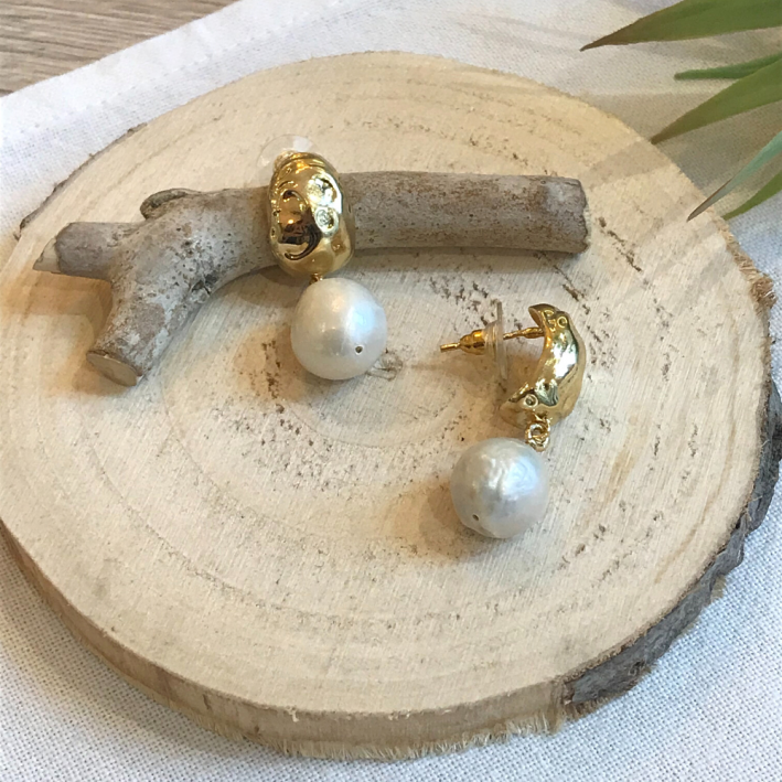 Boucles dormeuses grandes perles