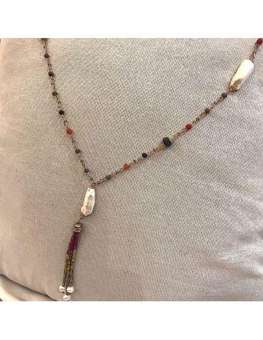Collier cravate perles biwa sur cristal facetté