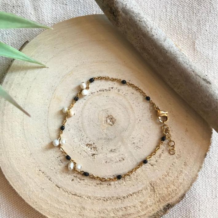 Bracelet pampilles perles blanches et noires