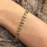 Bracelet pampilles en émail vert