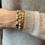 Bracelet Perles de culture et acier doré