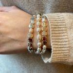 Bracelet Perles de culture blanches et acier argenté brillant