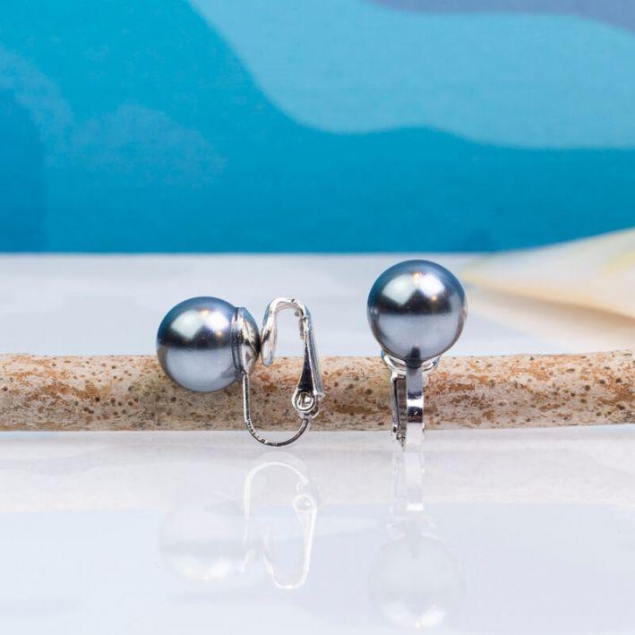 Boucles d'oreilles clips Perle nacre noire sur tige argentée