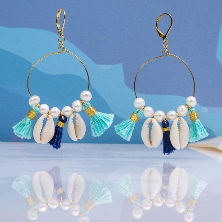 Boucles d'oreilles créoles pompons et koris