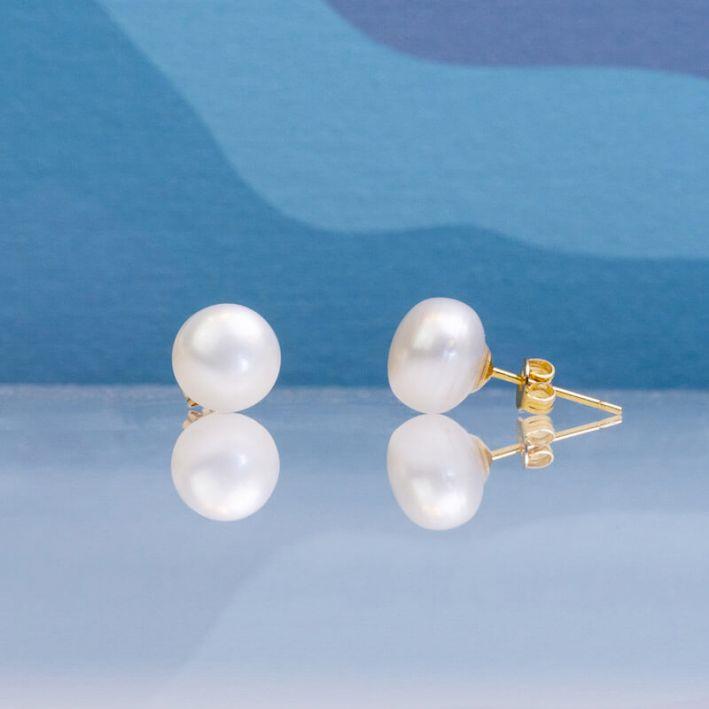Boucles d'oreilles puce une perle de culture blanche grande