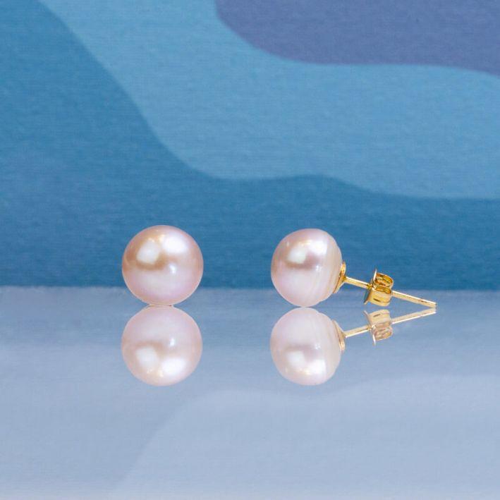 Boucles d'oreilles puce une perle de culture pêche grande