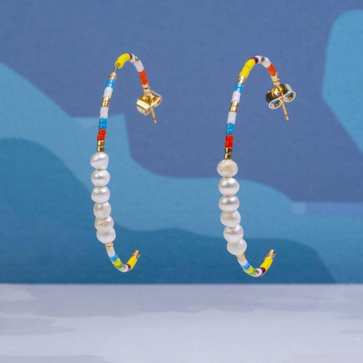 Créoles perles de rocailles madras et petites perles