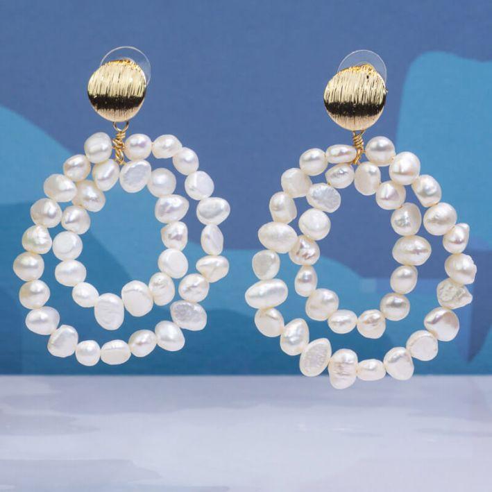 Boucles d'oreilles créoles deux rangs de perles