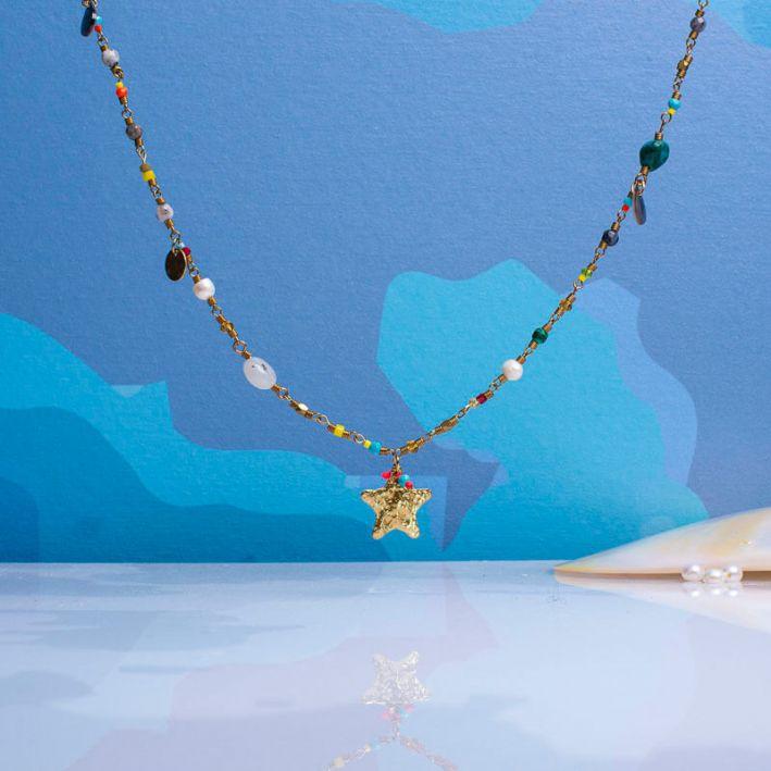 Sautoir pampille perles de culture et perles rocailles
