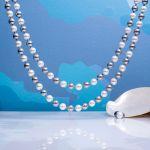 Collier double rang perles nacre bicolore
