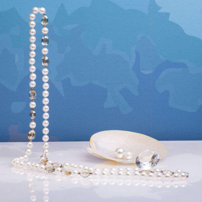 Sautoir perles de nacre et trio de cristal doré et chamois facettés