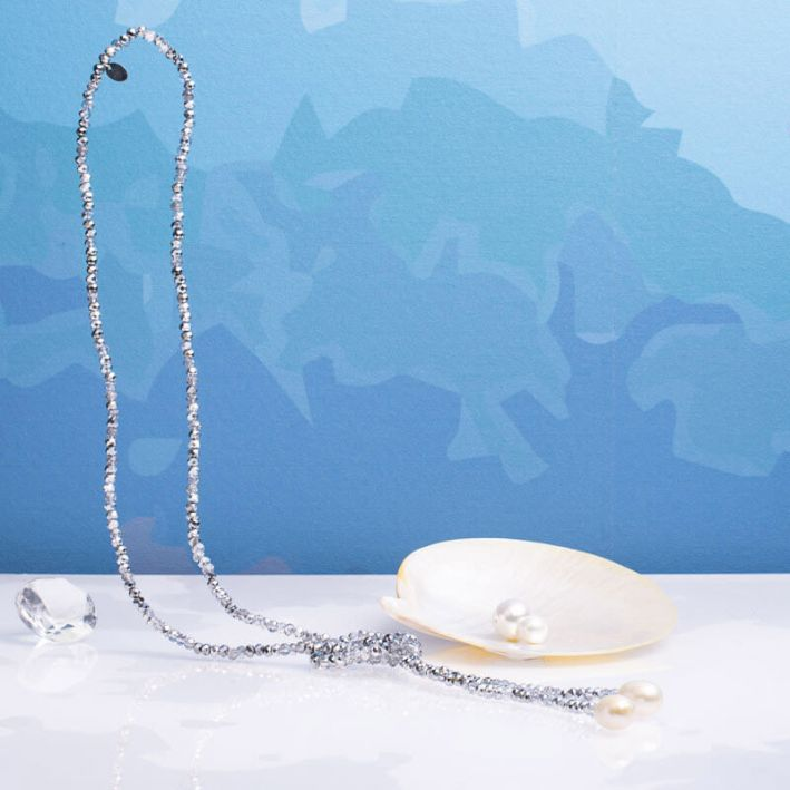 Sautoir duo de perles scintillantes argentées et perles