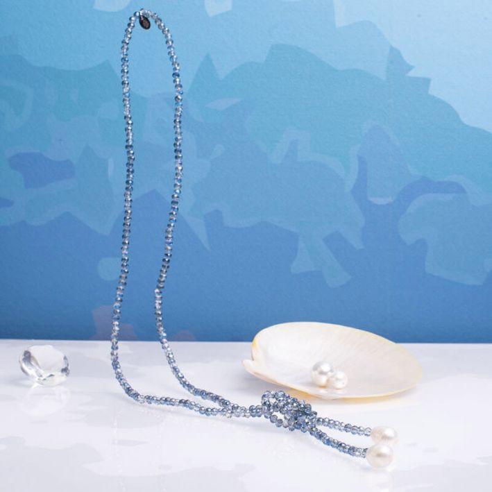 Sautoir duo de perles scintillantes bleues et perles