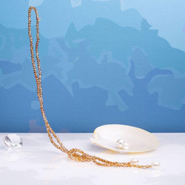 Sautoir duo de perles scintillantes dorées et perles