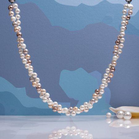 Collier deux rangs de perles de nacre camaïeu de roses