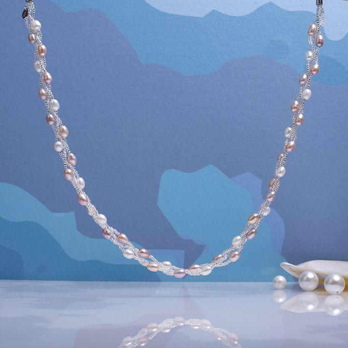 Collier 3 rangs perles de culture et de rocaille roses
