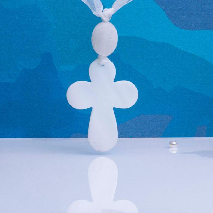 Croix de Berceau en nacre naturelle