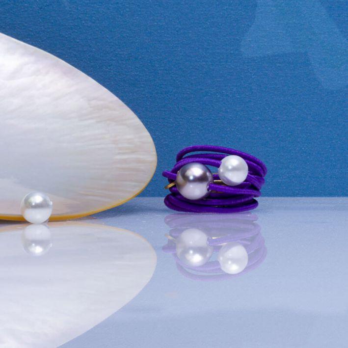 Bague multi rangs élastique violet et duo de perles de nacre