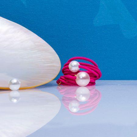 Bague multi rangs élastique rose et duo de perles de nacre