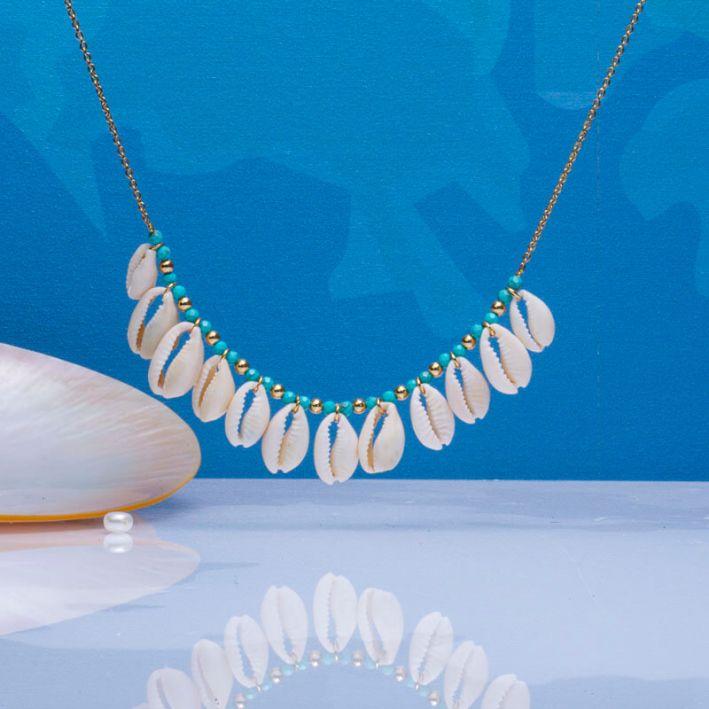 Collier coquillages koris et perles turquoises
