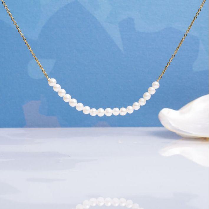 Collier petites perles de culture sur chaîne dorée