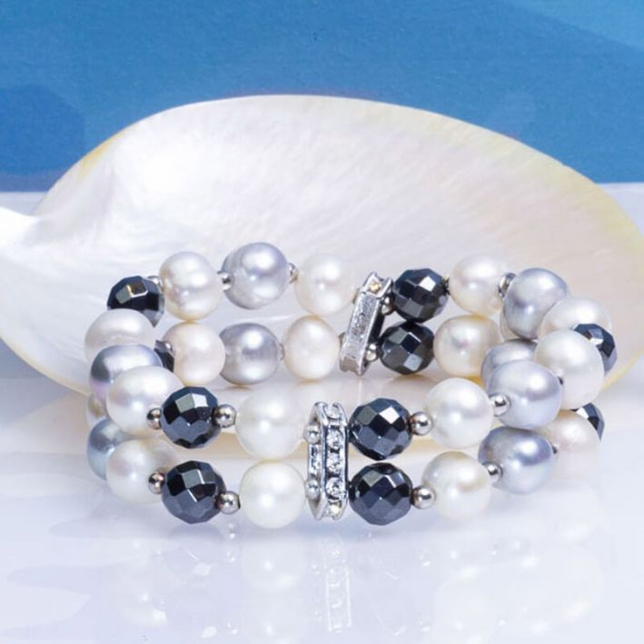 Bracelet Prestige perles de culture et hématites facettées