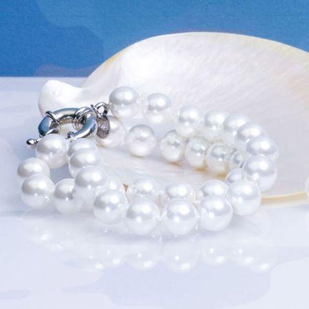 Bracelet 2 rangs perles de nacre blanche