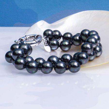 Bracelet 2 rangs perles de nacre noires