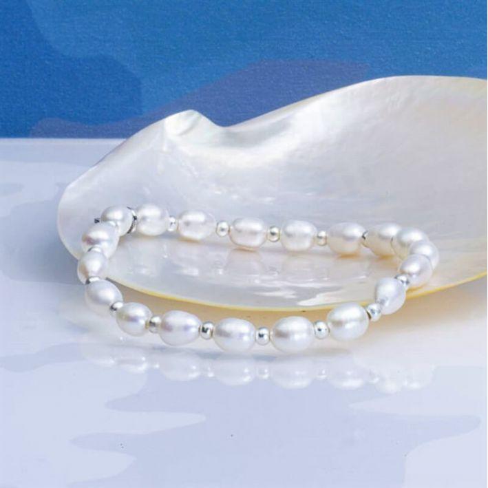 Bracelet perles de culture et acier argenté