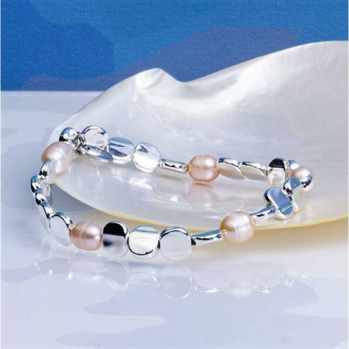 Bracelet Perles de culture roses et acier argenté brillant